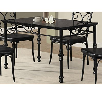 Metal Dining Table With marble top Black