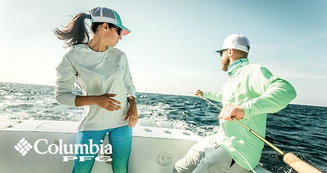 Columbia PFG logo. Woman and man in a fishing boat.