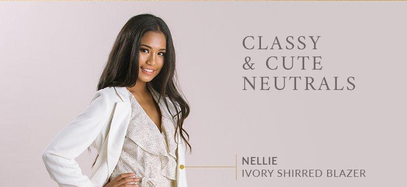 Nellie Ivory Shirred Blazer