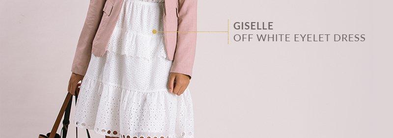 Giselle Off White Eyelet Dress