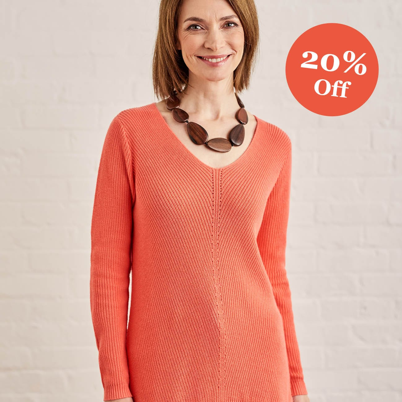 Womens Cotton Pointelle Detail Jumper in Cantaloupe