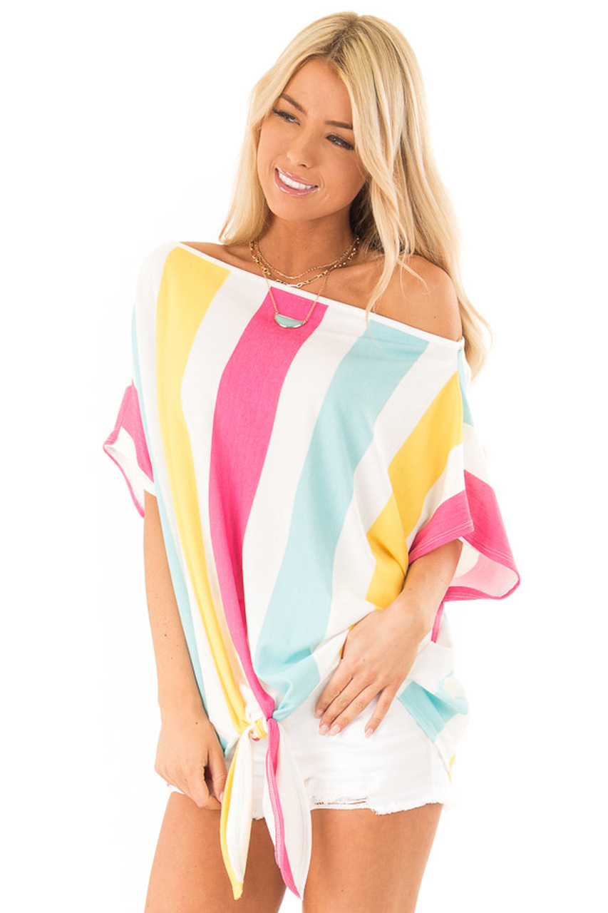 7360fc0f2ae ... Detail, Colorful Striped Off the Shoulder Top with Front Tie
