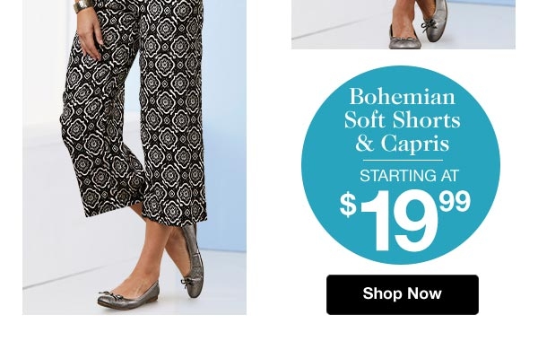 Shop Bohemian Soft Shorts & Capris!