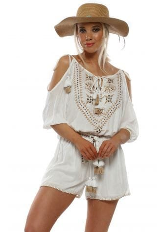 White Cotton Embroidered Playsuit