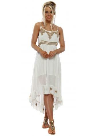 White Cotton Circle Embroidered Sun Dress