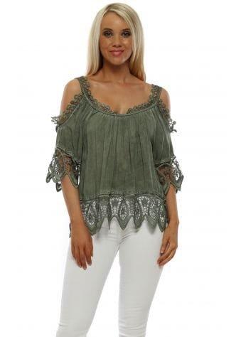 Khaki Cold Shoulder Crochet Top