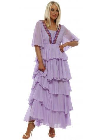 Talullah Orchid Ice Ruffle Maxi Dress