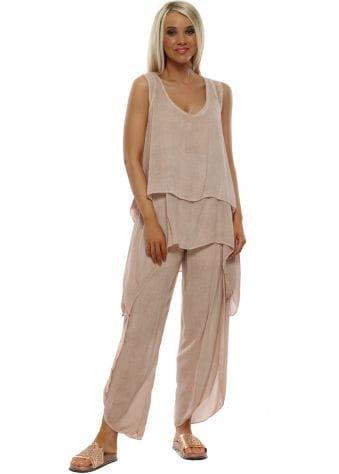 Dusky Pink Linen 3 Piece Co-Ord Trouser Set