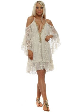 Cream Vintage Lace Cold Shoulder Dress