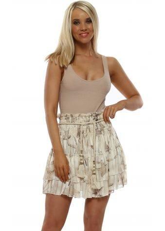 Cream Star Fish Print Ra Ra Mini Skirt