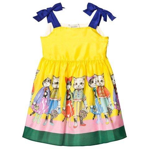 Gucci Yellow Gucci Friends Print Silk Dress with Bow Shoulder Detail