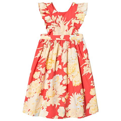 Bonpoint Red Canelle Floral Print Ruffle Dress