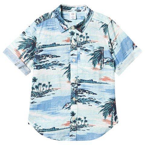 Gap Blue Linen Palm Print Shirt