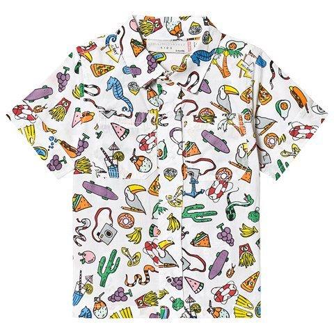 Stella McCartney Kids White Food All Over Print Oxford Button Shirt