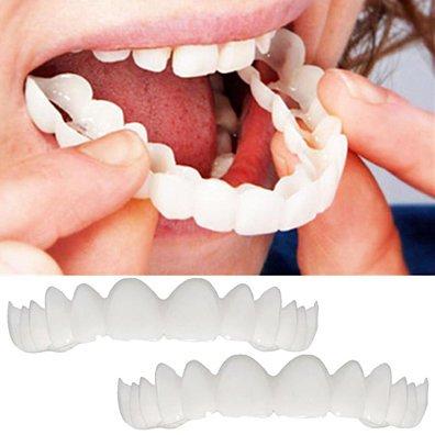 2Pcs Comfort Fit Flex Cosmetic Teeth Denture Teeth Top Cosmetic