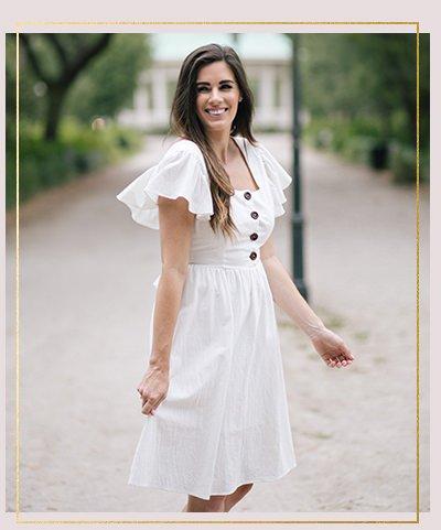 Makenna Off White Ruffle Sleeve Midi Dress