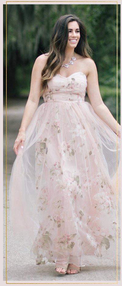 Ellen Blush Floral Tulle Maxi Dress