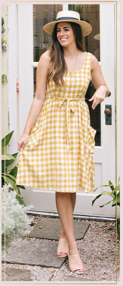 Bonnie Yellow Plaid Midi Dress