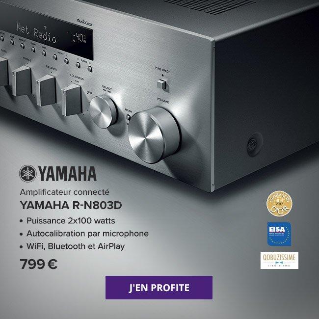 Amplificateur connecté Yamaha R-N803D: puissance 2x100 watts, autocalibration par microphone, WiFi, Bluetooth et AirPlay. 799 €. J'en profite.