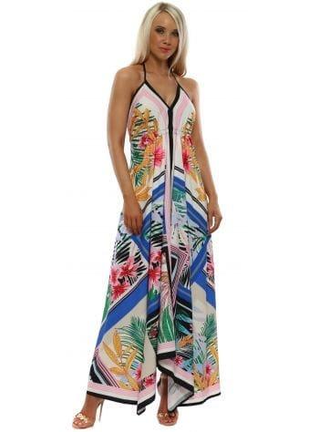 Blue Floral Print Halter Neck Maxi Dress