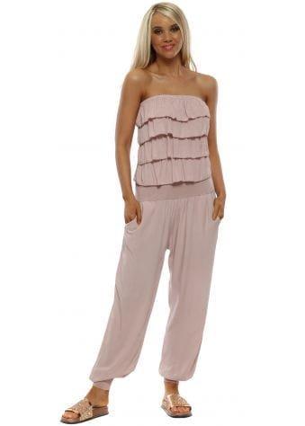 Pale Pink Jersey Frill Bandeau Jumpsuit