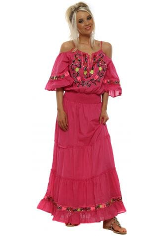 Pink Cotton Embroidered Tiered Maxi Dress