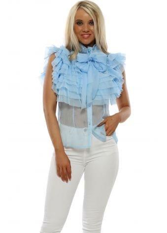 Baby Blue Chiffon Frill Bow Tie Blouse