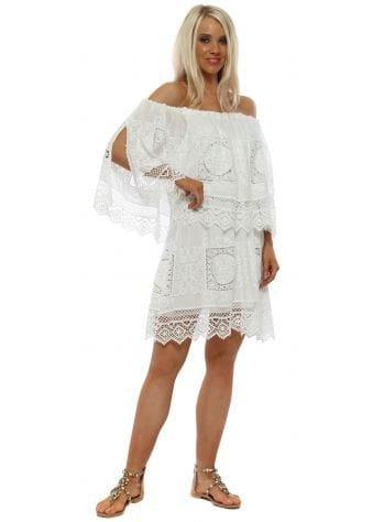 White Cotton Crochet Bardot Mini Dress