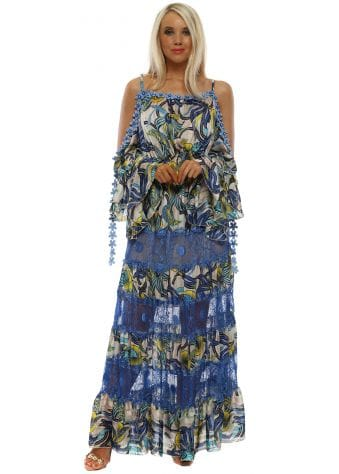 Blue Lace Crystal Daisy Cold Shoulder Maxi Dress
