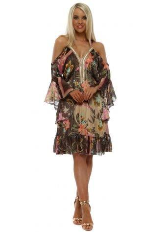 Brown Floral Print Beaded V-Neckline Dress