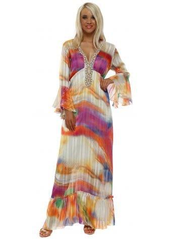 Rainbow Ombre Chiffon Beaded Maxi Dress