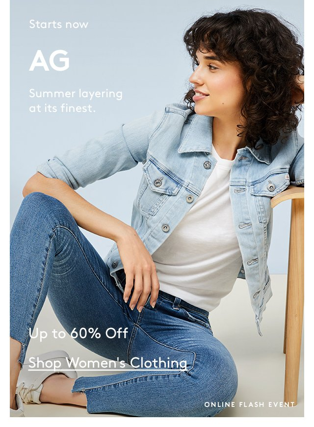 Starts now | AG | Summer layering at its finest. | Up to 60% Off | Shop Women's Clothing | Online Flash Event