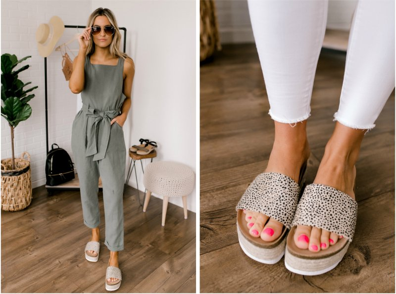 green jumpsuit and leopard slides
