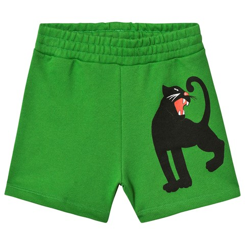 Mini Rodini Green Panther Sweat Shorts