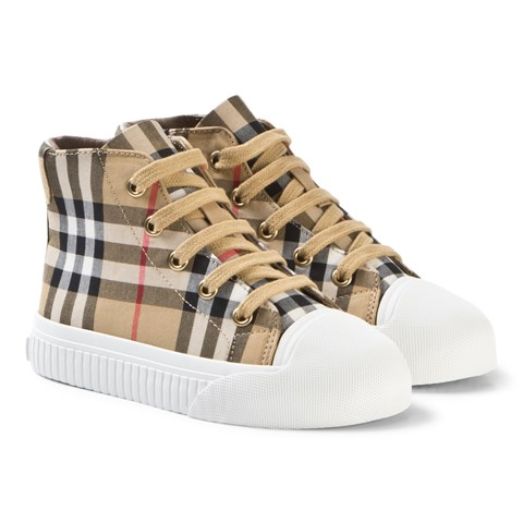 Burberry Beige and White Belford High Top Trainers