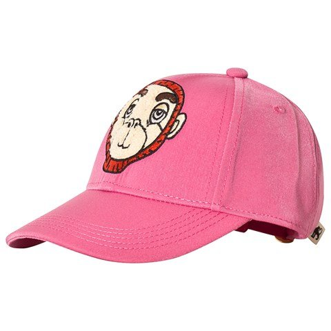 Mini Rodini Pink Monkey Embroidery Cap