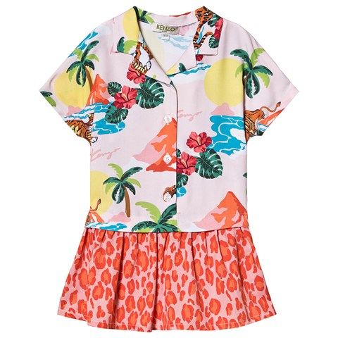 Kenzo Kids Pink Hawaii Tiger Print Shirt Dress