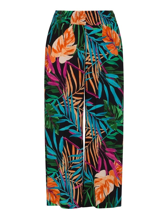 Wide leg tropical print trousers