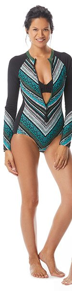 73bfbce51ff099 BEACH HOUSE SPORT SCULPT LONG SLEEVE ZIP FRONT ONE PIECE SWIMSUIT -  STRAIGHT AND ARROW