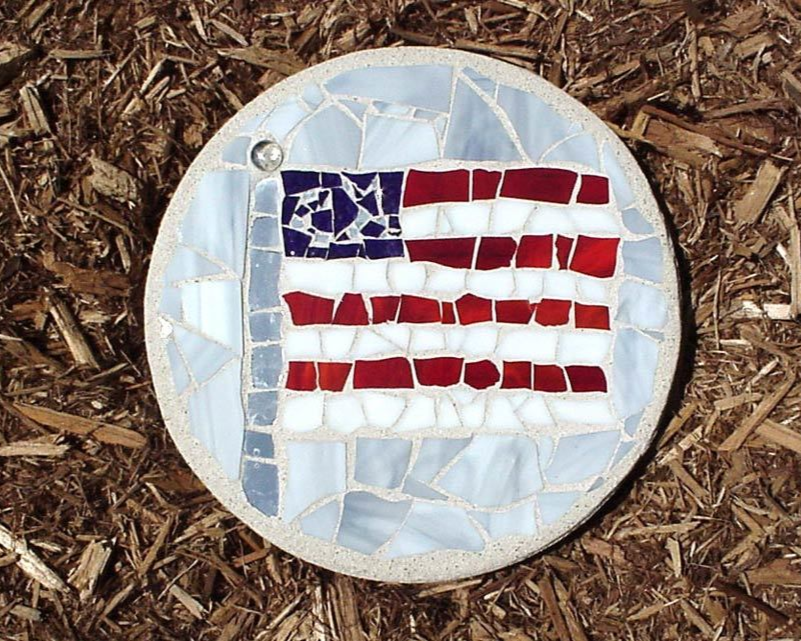 Flag Stained Glass Stepping Stone available on WisconsinMade Artisan Collective