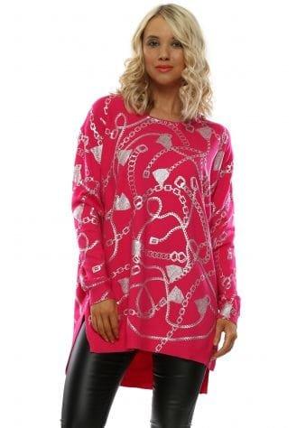 Pink Foil Chain Tunic Jumper