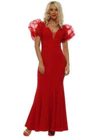 Red Voile Ruffle Shoulder Maxi Dress