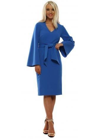 Alexis Blue Tie Waist Pencil Dress