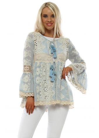 Blue Crochet Kimono Top