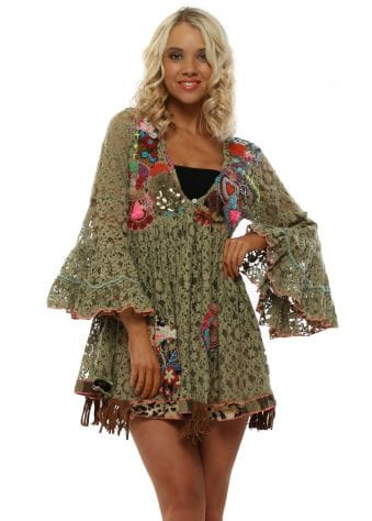 Khaki Lace Embellished Mini Beach Dress