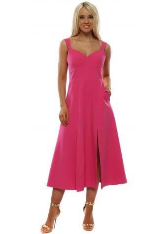 Vicky Pattison Pink Split Skater Dress