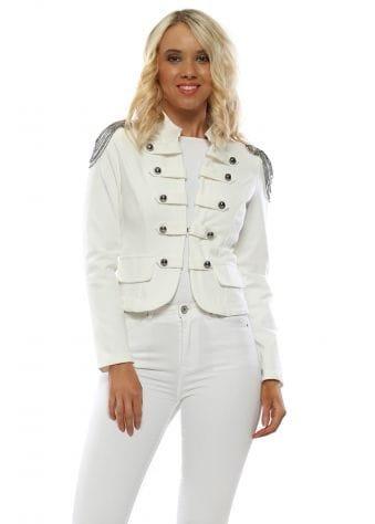 White Beaded Chain Military Short Jacket