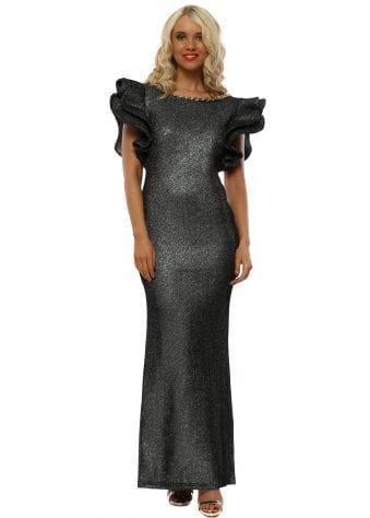 Black & Silver Big Frill Shoulder Maxi Dress