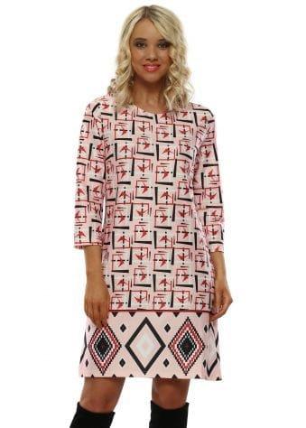 Pink Patterned Shift Dress