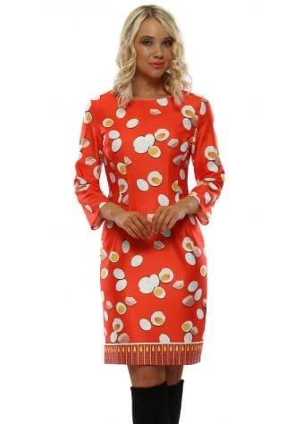 Orange Patterned Pencil Dress